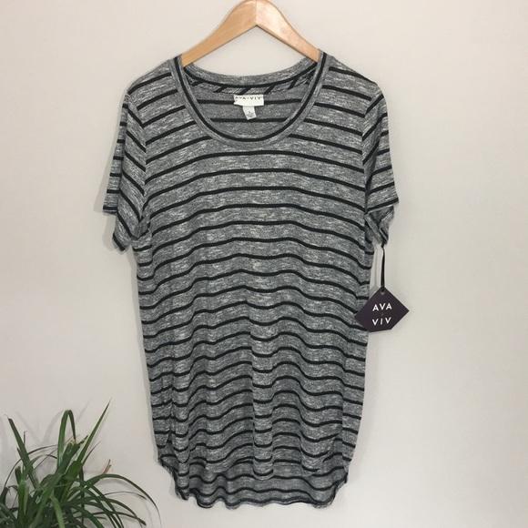 c9aed943f90 NWT Ava   Viv ebony stripe tunic blouse